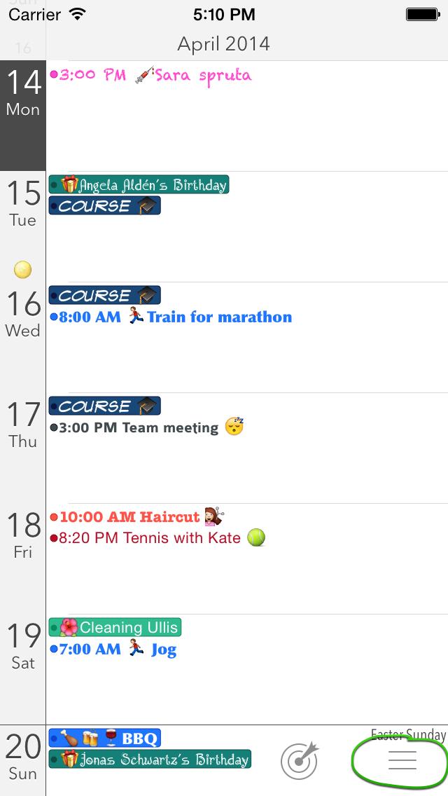 Calendar+ Menu